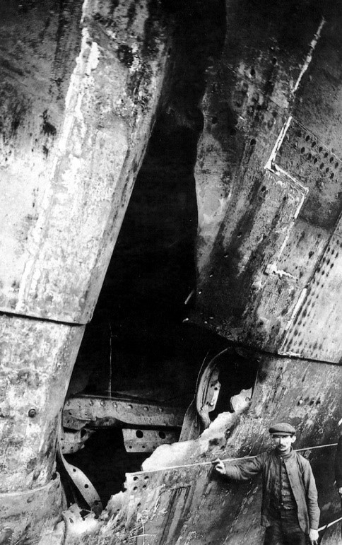 Damage caused to RMS Olympic following the collision with the HMS Hawke