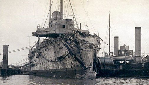 HMS Hawke after collision with RMS Olympic