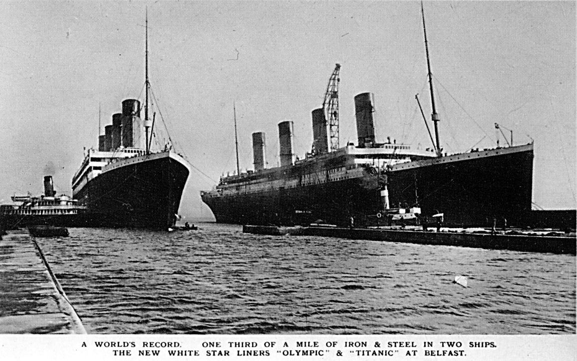RMS Titanic and RMS Olympic at Belfast c.1911