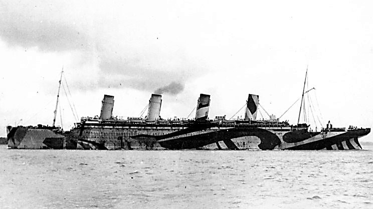 RMS Olympic painted in War Colours